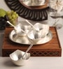 Ojas Silver Plated Set of 4 Dessert Bowls With Tray & Spoons