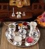 Ojas Silver Plated Stainless Steel Laxmi Pooja Thali