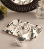 Ojas Solid Rectangle Silver Plated Set of 6 Dessert Bowls With Tray