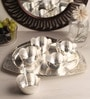 Ojas Solid Triangle Silver Plated Set of 5 Dessert Bowls With Tray & Spoons