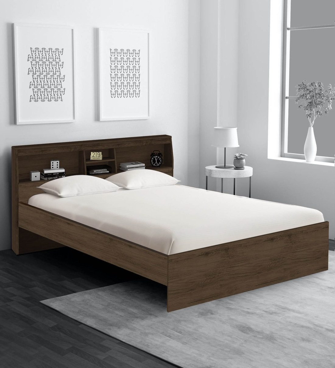 Picture of: Buy Okinawa Queen Size Bed With Headboard Storage In Coffee Finish By Mintwud Online Modern Queen Size Beds Beds Furniture Pepperfry Product