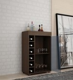 Oki Bar Cabinet in Tobacco Finish with Glass Door