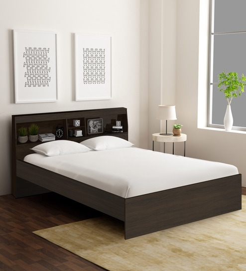 Buy Okinawa King Size Bed With Headboard Storage In Chocolate Finish