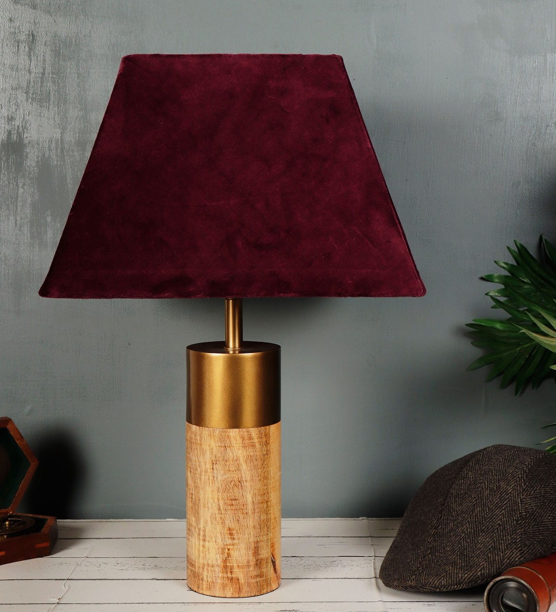 Buy Old With Gold Purple Velvet Shade Table Lamp With Wooden Brown Base By Grated Ginger Online Modern And Contemporary Table Lamps Table Lamps Lamps Lighting Pepperfry Product