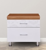 Olive Bedside Table in White & Maple Finish