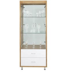 Olive Wine Cum Hutch Cabinet In White & Maple Finish By Royal Oak