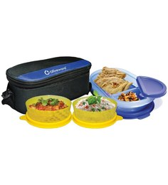 Oliveware Happy Day Plastic Lunch Box With Bag - Set Of 3