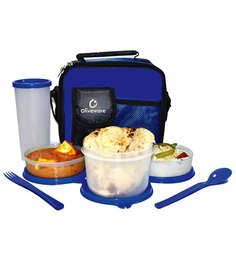 Oliveware Olympic Plastic Lunch Box With Bag - Set Of 4