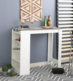 Olivo Multipurpose Bar Table In White & Concrete Finish