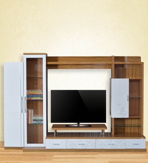 Buy Olive Wall Unit in White & Light Oak Color by Royal Oak Online ...
