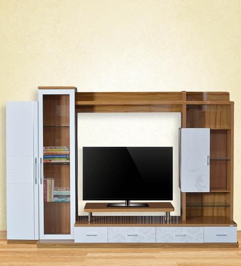 free shipping a5ada fddaa Orchid Wall TV Unit in White & Light Oak Color by RoyalOak