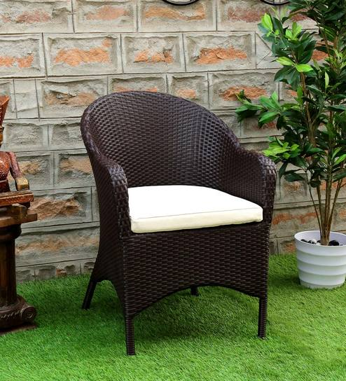 Buy Oliver Outdoor Garden Wicker Chair In Wenge Finish By Bohemiana