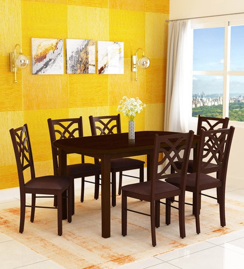 Buy Oliver Six Seater Dining Set In Brown Colour By Hometown Online