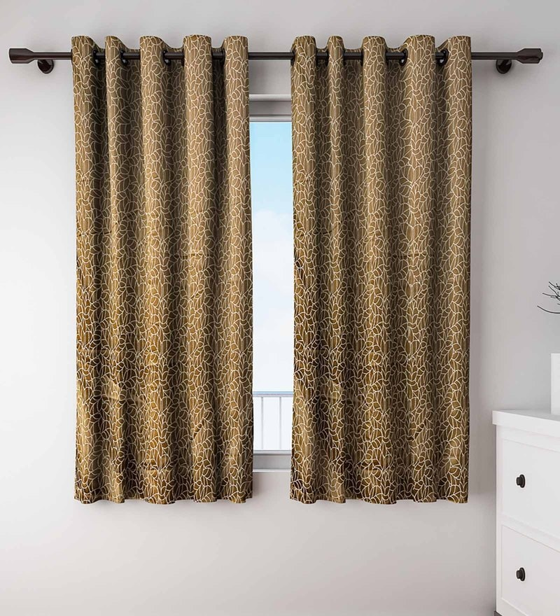 Olive Polyester Window Curtains - Set of 2 by S9 home by Seasons