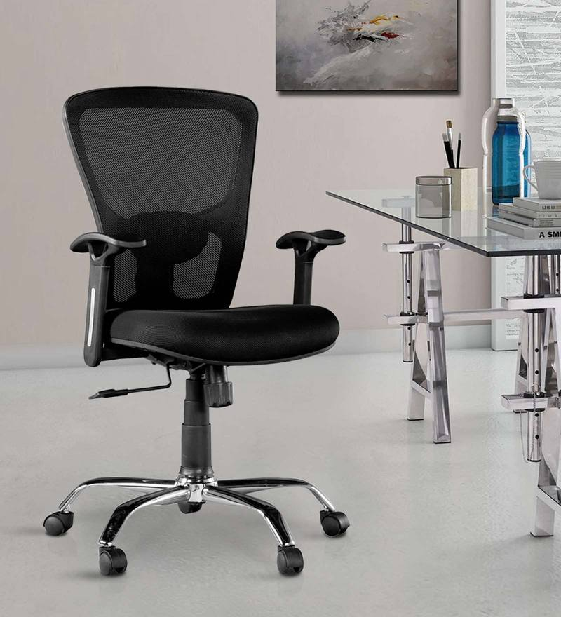 Olivia Medium Back Ergonomic Chair in Chrome Black Colour by HomeTown