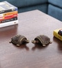 Olha-O Brown and Gold Metal Dhokra Art Tortoise Table Top Showpiece - Set of 2