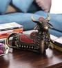 Olha-O Multicolour Metal Nandi Sitting with Bells Showpiece