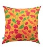Olie Orange Cotton 16 x 16 Inch Abstract Flowers Cushion Cover