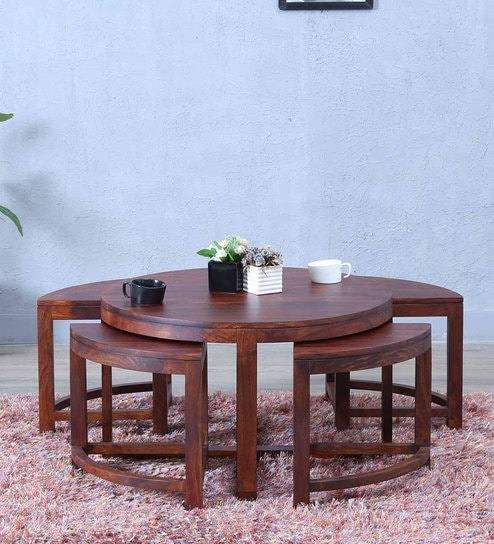 Omaha Coffee Table Set with Four Stools in Honey Oak Finish by Woodsworth