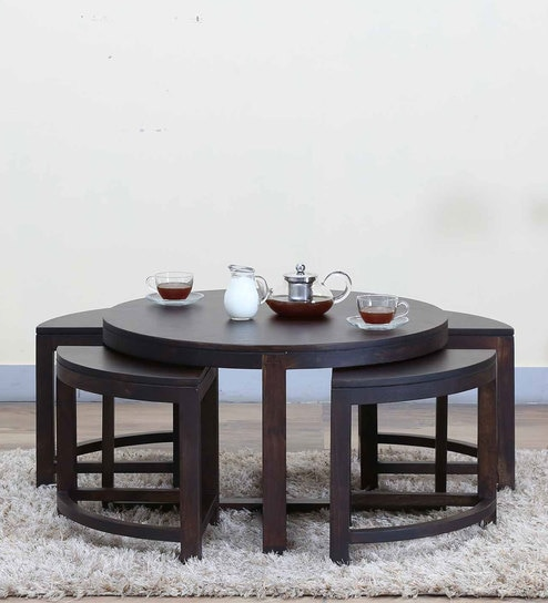Omaha Coffee Table Set with Four Stools in Warm Chestnut Finish by Woodsworth