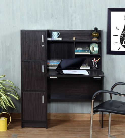 Omura Study Table With Cabinets In Wenge Finish On