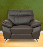 One Seater Half Leather Sofa in Brown Colour