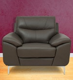 One Seater Half Leather Sofa in Grey Colour
