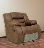 One Seater Manual Recliner with Rocker & Revolve in Brown Color
