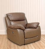 One Seater Motorized Half Leather Recliner in Cappuccino Colour
