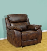 One Seater Motorized Half Leather Recliner in Mocha Colour