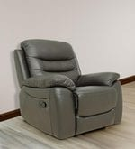 One Seater Manual Recliner Sofa in Half Leather Dark Brown Colour