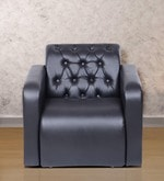 One Seater Sofa with Tufted Back & Arm Rest in Black Colour
