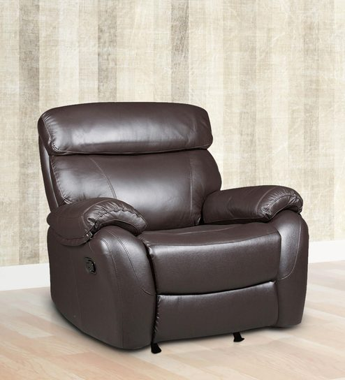 Buy One Seater Half Leather Recliner Rocker Sofa in Brown Colour