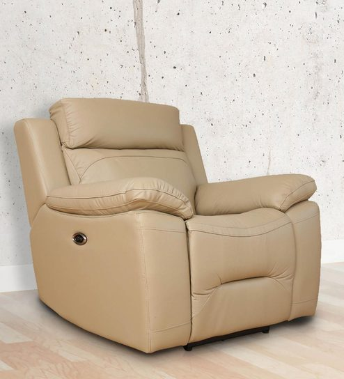 One Seater Motorized Recliner Sofa in Half Leather Peanut Colour by Star India & Buy One Seater Motorized Recliner Sofa in Half Leather Peanut ... islam-shia.org