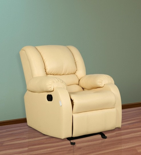 Bon Dolphin One Seater Recliner Cum Rocking Sofa In Ivory Beige Colour By Parin