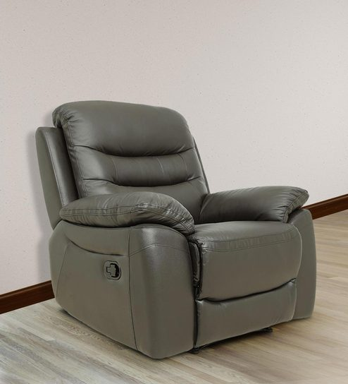 Gentil One Seater Manual Recliner Sofa In Half Leather Dark Brown Colour By Star  India