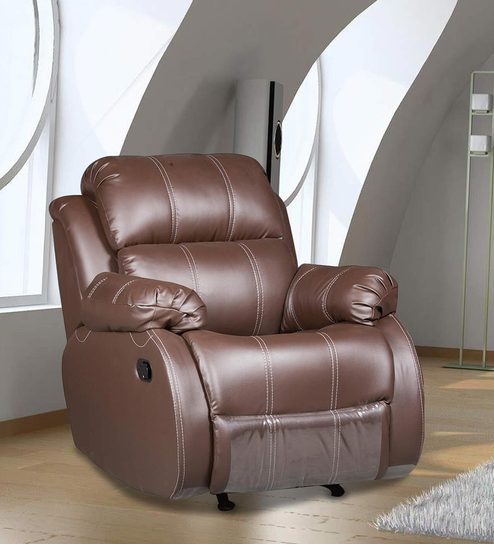 One Seater Manual Recliner with Rocker in Brown Colour by Star India : one seater recliner - islam-shia.org