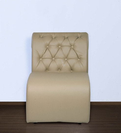 Designer Accent Chair With Tufted Back In Muslin Beige Colour By Durian