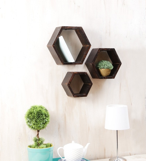 buy solid wood hand made hexagonal modular wall shelf set. Black Bedroom Furniture Sets. Home Design Ideas