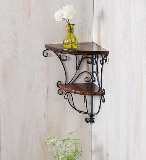 Solid Wood Hand Made Decorative Wall Shelf With Metal Base In Black Finish By Online Shelves Furniture Accents