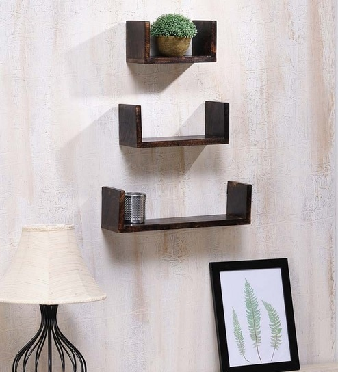 Buy Onlineshoppee Brown Mango Wood Durable Wall Shelf - Set of