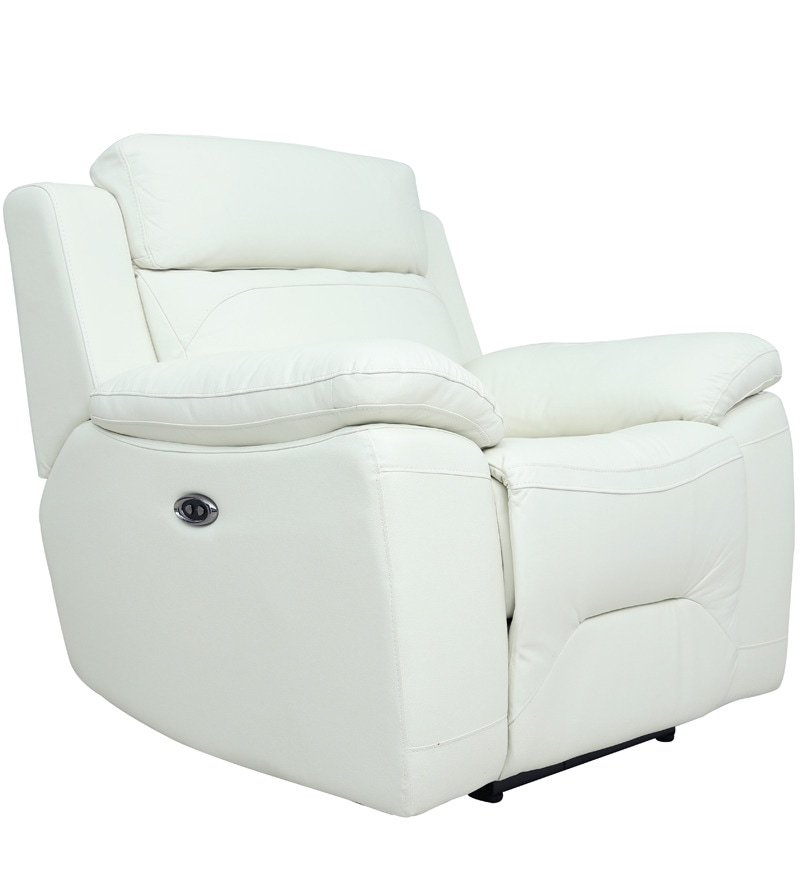 Buy One Seater Motorized Recliner Sofa in Half Leather White Colour by Star India Online - One Seater Recliners - Recliners - Pepperfry  sc 1 st  Pepperfry & Buy One Seater Motorized Recliner Sofa in Half Leather White ... islam-shia.org