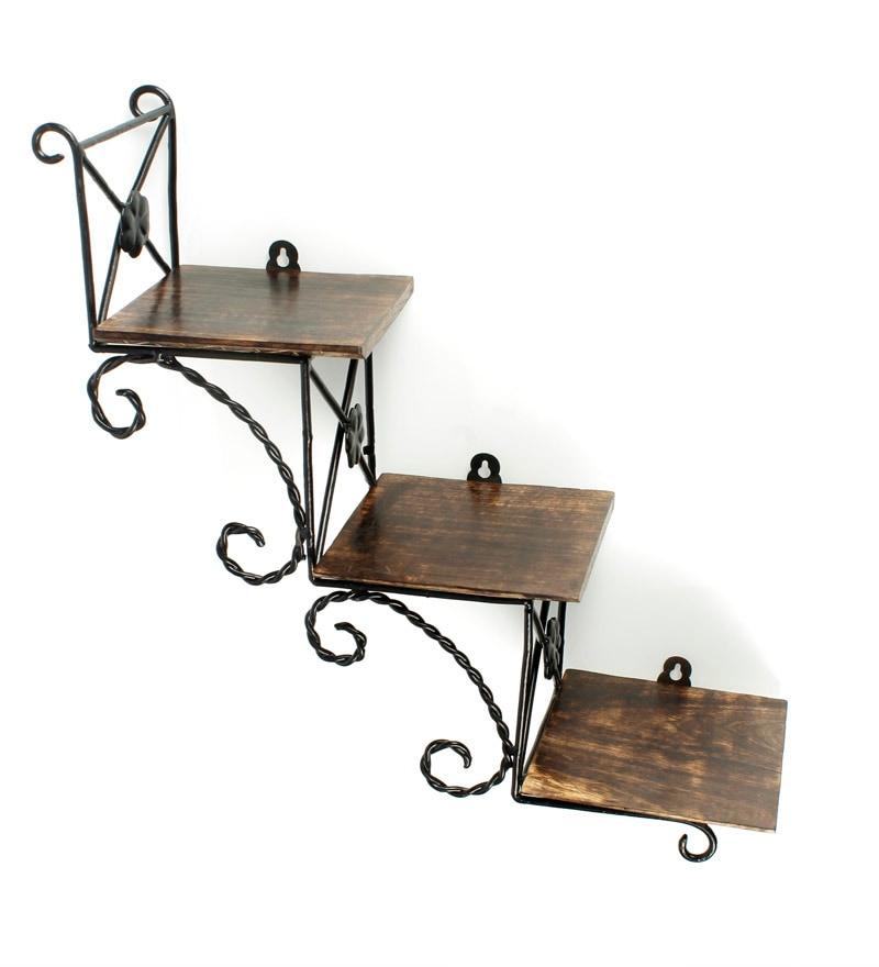 Buy Brown Mango Wood Hanging Wall Shelf by Onlineshoppee Online