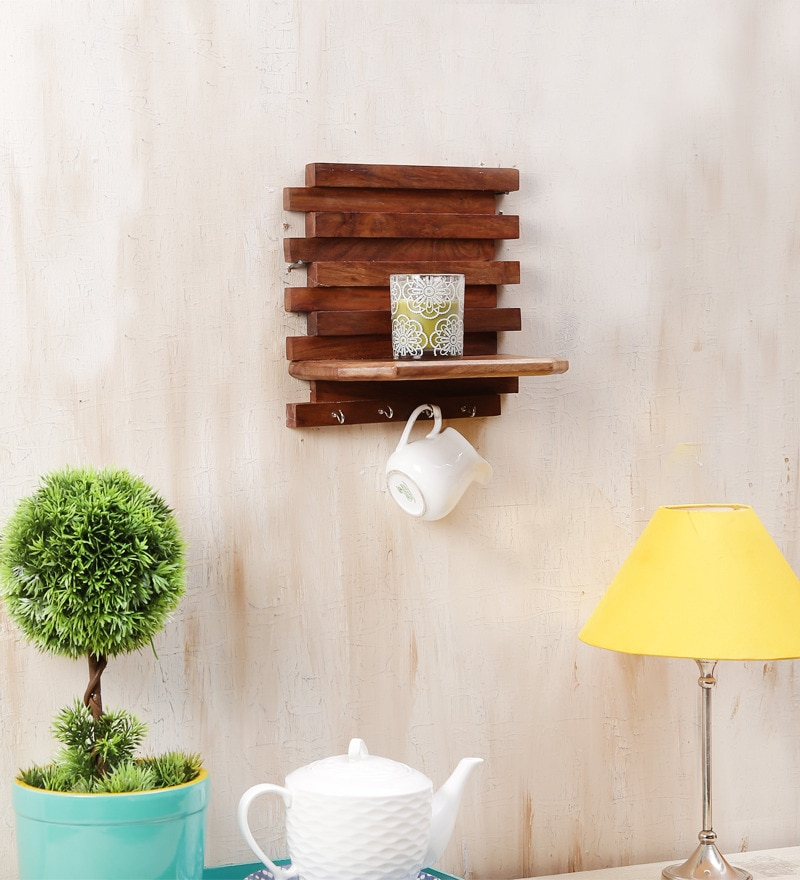 Brown Mango Wood Wall Rack Key Holder by Onlineshoppee