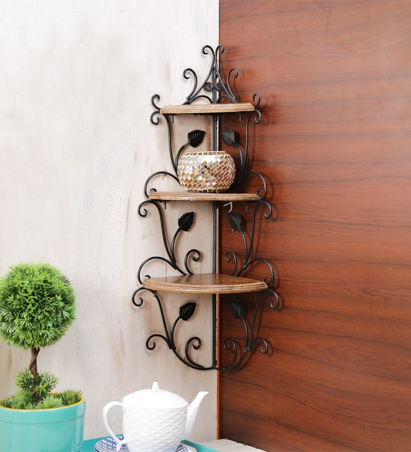 buy solid wood hand made decorative wall shelf with metal base in brown finish by onlineshoppee. Black Bedroom Furniture Sets. Home Design Ideas