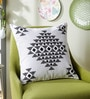 Black Cotton 16 x 16 Inch Toda Embroidery Cushion Cover by One Good Thing