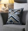 Blue & Beige Canvas 16 x 16 Inch Aari-Embroidered Cushion Cover - Set of 2 by One Good Thing