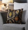 One Good Thing Blue & Olive Canvas 16 x 16 Inch Aari-Embroidered Cushion Cover - Set of 2