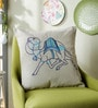 Blue Linen 16 x 16 Inch Dessert Safari Embroidered Cushion Cover by One Good Thing