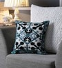 Grey & Black Canvas 16 x 16 Inch Aari-Embroidered Cushion Cover - Set of 2 by One Good Thing